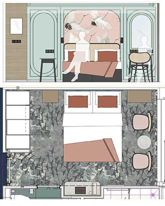 Cabin design and cabin layout for Saga's new river cruise vessel Spirit of the Danube
